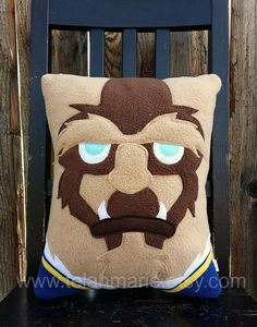 Belle and Beast pillow set, plush, cushion, gift by telahmarie on Etsy Cute Cushions, Diy Pillows, Decorative Pillows, Throw Pillows, Felt Pillow, Pillow Set, Maleficent, Belle And Beast, Disney Crafts