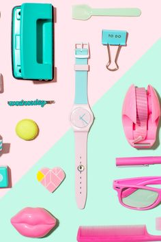 Swatch: colourful content creation for SwatchX campaign - Marianne Taylor Pastel Photography, Still Photography, Flat Lay Photography, Product Photography, Creative Photography, Lifestyle Photography, Swatch, Composition Art, Cute School Supplies