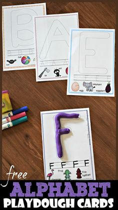 FREE Alphabet Playdough Cards these free printable playdough mats are a fun way for toddler preschool kindergarten and first grade kids to practice forming letters while. Preschool Phonics, Preschool Learning Activities, Preschool Letters, Homeschool Kindergarten, Free Preschool, Learning Letters, Kindergarten Worksheets, Toddler Preschool, Kindergarten Handwriting