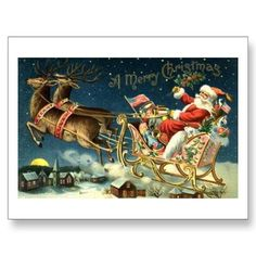 Vintage Santa and Sleigh Post Cards