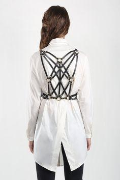 36718043f JAKIMAC Ela Weave Harness Belt   Black Genuine Leather Intricately Woven  Double Belted Harness Black Belt
