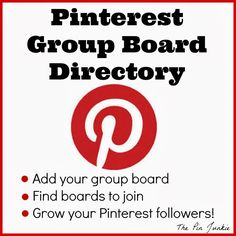 Great advice on how to make the most of group boards on Pinterest http://www.thepinjunkie.com/p/pinterest-group-board-directory.html