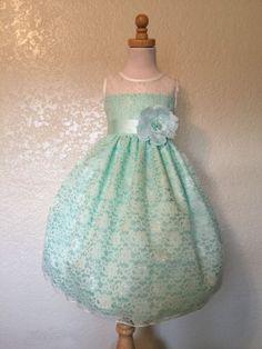 Mint Floral Ivory Lace Elegant Summer Easter Pageant Recital Girl Dress #02
