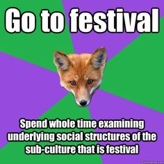 Go to festival Spend whole time examining underlying social structures of the sub-culture that is festival