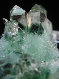 220g clear and beautiful green ghost Crystal Cluster mineral specimen cluster