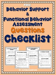 Free Behavior Support & Functional Behavior Assessment Che
