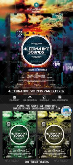 Alternative Sounds Event Flyer Design PSD Template | Buy and Download: http://graphicriver.net/item/alternative-sounds-event-flyer-design/8320617?WT.ac=category_thumb&WT.z_author=speaklog&ref=ksioks