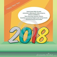 happy new year 2018 background design with good colorful text number design new year designs