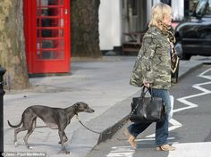 Jennifer Saunders was joined by her very well-behaved pet dog for a walk and shopping.