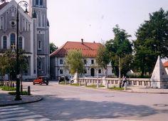 Plecnik's Bridge with signature pyramids at Trnovo, Ljubljana, very close to his home.