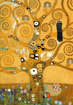 """worldpaintings: """" Gustav Klimt Detail of The Tree of Life, 1909, oil and gold on canvas. Klimt's use of swirling branches and detailed patterns of circles make the Tree of Life two-dimensional. It is..."""