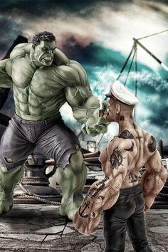 The Incredible Hulk Vs- Popeye the Sailor. Yep, Hulk got stomped. Hulk Marvel, Marvel Dc Comics, Bd Comics, Marvel Art, Marvel Heroes, Avengers, Aquaman Comics, Cartoon Kunst, Comic Kunst