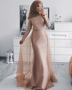 Modest fashion brown nude pretty dress for occasions and party wear Muslim Prom Dress, Hijab Prom Dress, Hijab Style Dress, Dress Outfits, Modest Dresses, Elegant Dresses, Pretty Dresses, Vintage Dresses, Modest Fashion