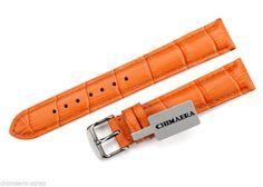 Handmade Genuine Leather Watch Band Strap, Orange, size 22mm/20mm