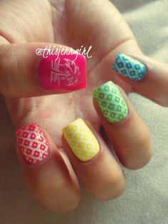 Summer nail design featuring Shany stamping and Ciate paint pots in Cupcake Queen | Speed Dial | Big Yellow Taxi | Mojito | Headliner