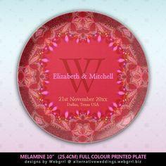 Pink Batik Lace Border Personalized Party #Plate