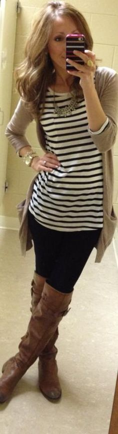 casual fall stripes & neutrals, I like the black and brown together