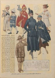 Home book of fashions, 1917. Trade Catalogs. The Metropolitan Museum of Art, New York. Thomas J. Watson Library (887793751) | All you need is a sewing machine and a lot of patience: Do-it-yourself military-type clothing, as presented in a 1917 Ladies' Home Journal pattern book. #sewing #patterns