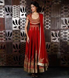 Wine Chanderi Silk Anarkali Suit with Jacket