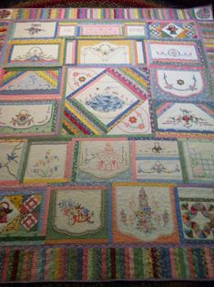 An amazing Old Linens Quilt made by  Kay Lea.  I have some old linens that I'm afraid to use for fear of destroying the embroidery.  This might be a good alternative.  Love the piano keys border.