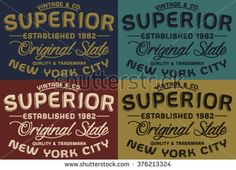 Nyc superior vintage & co vector print and varsity. For t-shirt or other uses in vector.T shirt graphic - stock vector