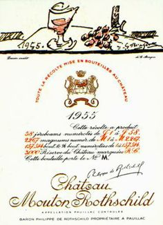 Chateau Mouton Rothschild 1955 etiqueta diseñada por Braque