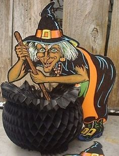 Vintage Halloween Honeycomb Decoration ~ Beistle Witch with Cauldron