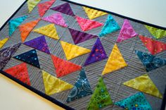 Quilted Patchwork Table Topper Wall Hanging or by MyBitOfWonder