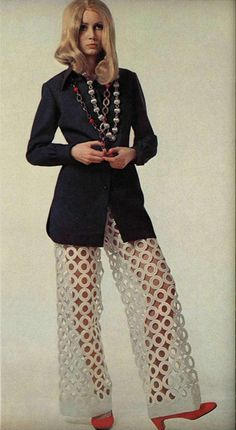 wow- I would love these weird pants with a long, tunic top with a circle pattern.... too cool... how great for a party! Lanvin 1968 #60s #fashion #Sewcratic