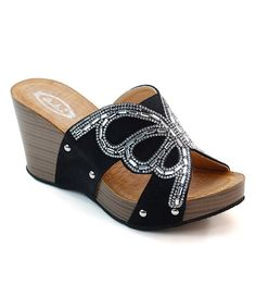 Look at this Italina Black Bead Butterfly Wedge on #zulily today!