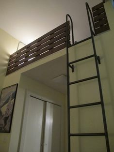Here's another ladder idea for the loft sleeping spaces. Only I won't have a wall to attach the ladder to. It needs to be something that can be moved out of the way. Back to the drawing board.