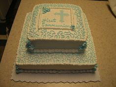 1st First Holy Communion Cake Blue White