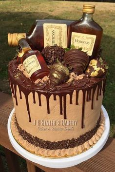 Alcohol Birthday Cake, 35th Birthday Cakes, Alcohol Cake, Birthday Cake For Him, Henessy Cake, Liquor Cake, Cake For Husband, Birthday Cake Decorating, Pastries