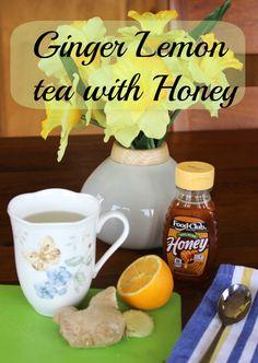 Ginger lemon tea with honey.