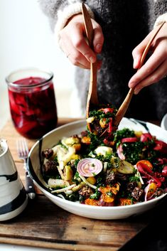 My New Roots Founder Sarah Britton's Winter Rainbow Salad Sarah Britton's Winter Rainbow Panzanella- My New Roots Whole Food Recipes, Cooking Recipes, Rainbow Salad, Clean Eating, Healthy Eating, Healthy Food, Vegetarian Recipes, Healthy Recipes, Weeknight Recipes