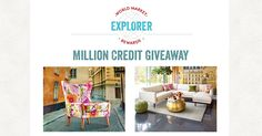 How would YOU spend $5,000 at Cost Plus World Market? Enter here for your chance to win! Find everything you need at your World Market! http://www.worldmarket.com/home ENDS: 4/30/2017  • Update your sofa with a splash of color. Add a couple of accent pillows for more comfort and style. • Rejuvenate any room with one of our scented jar candles. (We love Orange Blossom!) • Add a wicker basket to organize your car keys and phone, right by your front door.