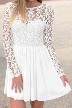 White Long Sleeve Sheer Lace Pleated Dress
