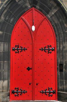 Red Door, Black Hardware, on the Royal Mile, Edinburgh, Scotland