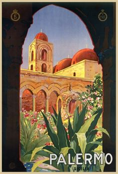 Palermo 1930 Italy - Beautiful Vintage Poster Reproduction. This vertical Italian travel poster features the view of a domed tower building and aquaducts through a silhouetted arch. Giclee Advertising Print. Classic Posters