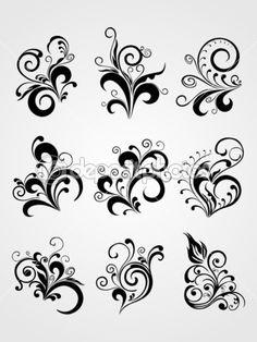 Vector element flower tattoos