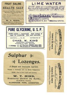 Miniature Printables - Apothecary labels.