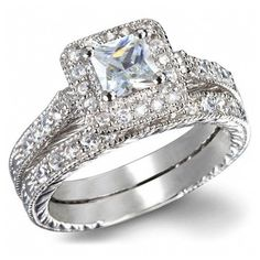 3.55 Princess Cut Wedding Ring Set Women's Engagement Ring Diamond... ($28) ❤ liked on Polyvore featuring jewelry, rings, women, fake engagement rings, wedding rings, princess cut wedding rings, platinum diamond rings and princess cut diamond rings