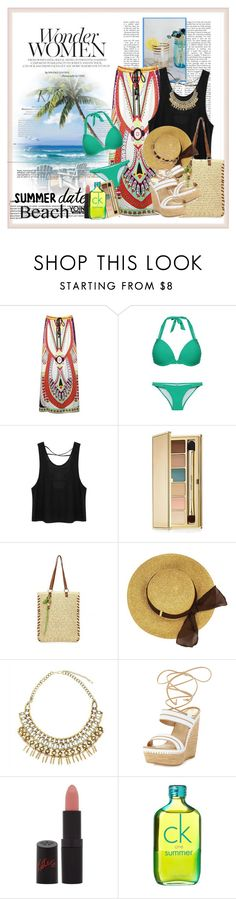 """Summer Date: The Beach"" by cindy88 ❤ liked on Polyvore featuring Whiteley, Estée Lauder, Stuart Weitzman, Rimmel, Calvin Klein, beach, summerdate, yoins, yoinscollection and loveyoins"