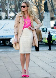 Best street style: New York Fashion Week Fall 2014 //  Perfect for going from office workwear to date night chic, this hot pink tank, heels and cream accessories are a cool mix.