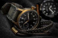 Steinhart Nav B-Uhr 44 handwinding bronze pilot and Canvas Verte military strap by Peter Gunny Straps