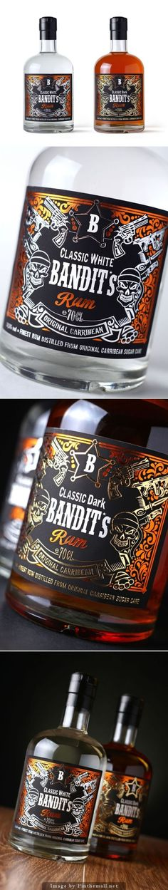 Bandit's Rum by Moldova. I like the packaging design. I love the imagery and the typography. The colours work well when the bottle is filled with the rum. Beverage Packaging, Bottle Packaging, Food Packaging, Brand Packaging, Packaging Design, Tequila, Vodka, Alcohol Bottles, Liquor Bottles