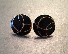 Vintage enamel black and gold circular post earrings / pierced earrings / enamel jewelry