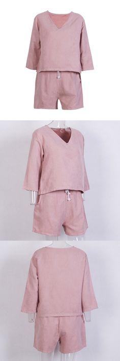 women ladies summer fashion shorts set three quarter sleeve v-neck loose top high waist drawstring shorts solid 2pcs