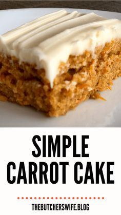 Yummy Carrot Cake is easy to make! It is simple but delicious! A moist carrot cake with a sweet and creamy cream cheese frosting! Carrot Cake Bars, Easy Carrot Cake, Moist Carrot Cakes, Sheet Cake Recipes, Easy Cake Recipes, Frosting Recipes, Dessert Recipes, Baking Recipes, Cake Fillings