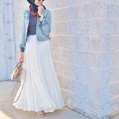 Denim jacket and long skirt!!